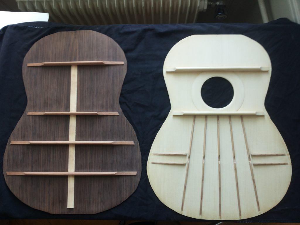 Guitares Pradel table d'harmonie et fond